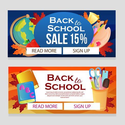 torna al banner di vendita della scuola con articoli scolastici