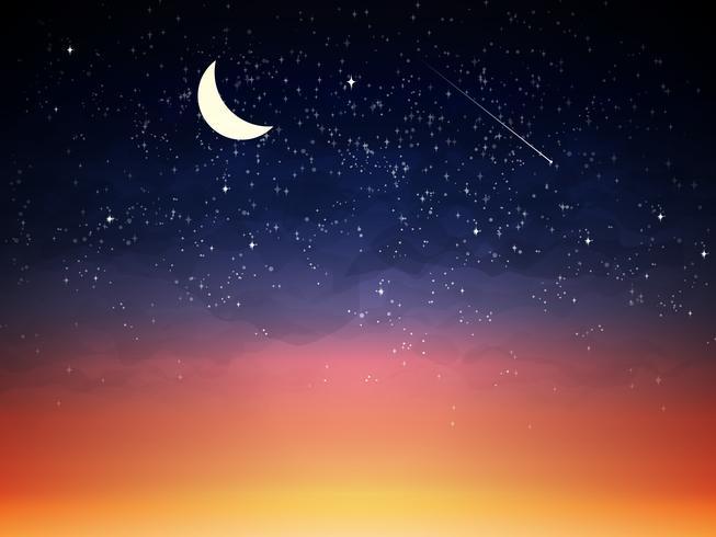 Cielo púrpura en el crepúsculo noche oscura vector