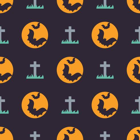 Cute halloween seamless pattern with bats and gravestone vector