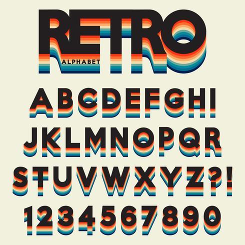 Lettre alphabet stylisé style rétro vecteur