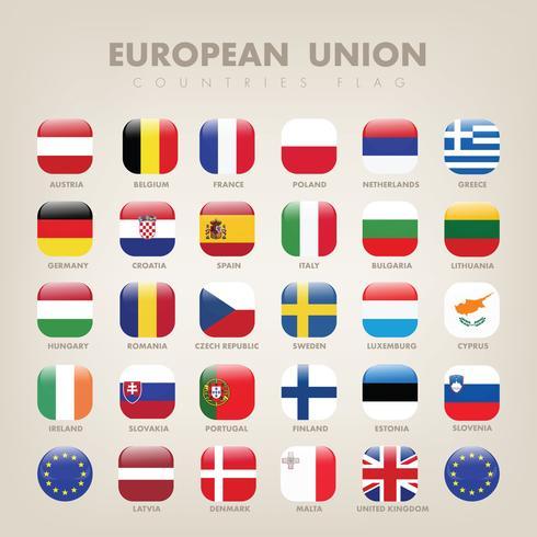 Conjuntos de vector de bandera de países de la Unión Europea