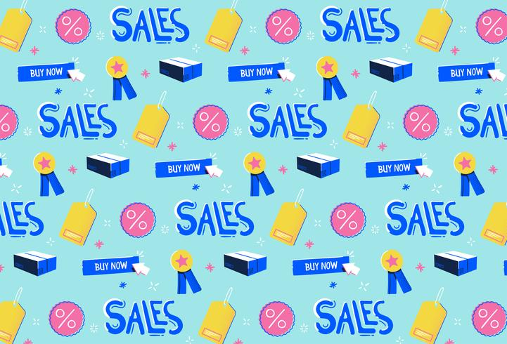 hand drawn sales promotion pattern background vector