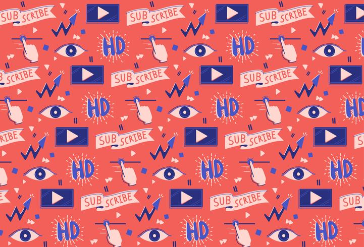 hand drawn social media video pattern background