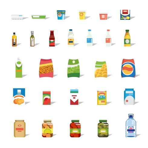 Raccolta di cibi e bevande Scarica Immagini Vettoriali