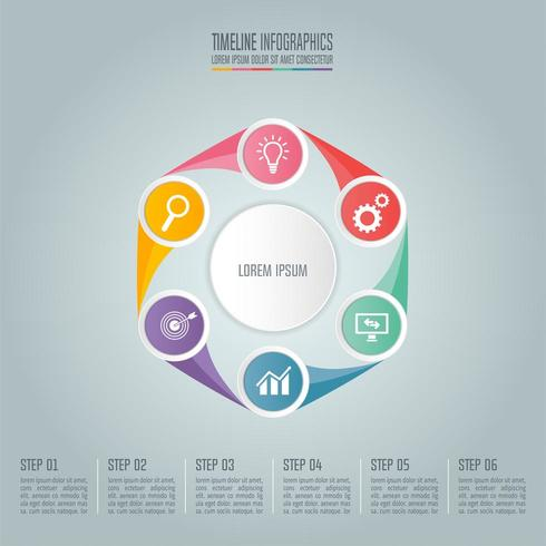 Business concept with 6 options, steps or processes. vector