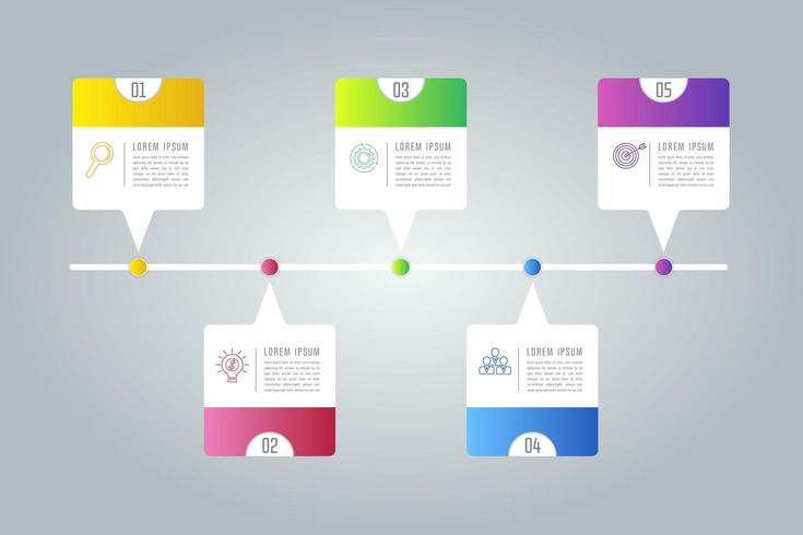 Creative concept for infographic with 5 options, parts or processes.  vector