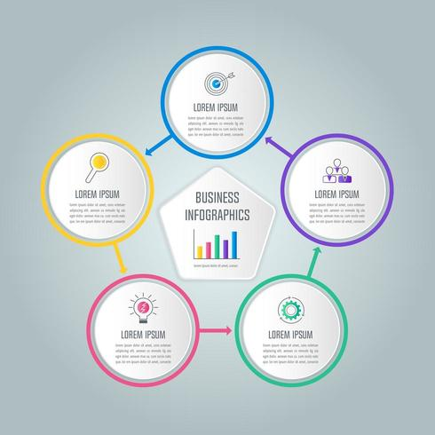 Concepto de negocio de diseño infográfico con 5 opciones, piezas o procesos.