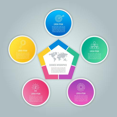 infographic design business concept with 5 options, parts or processes. vector