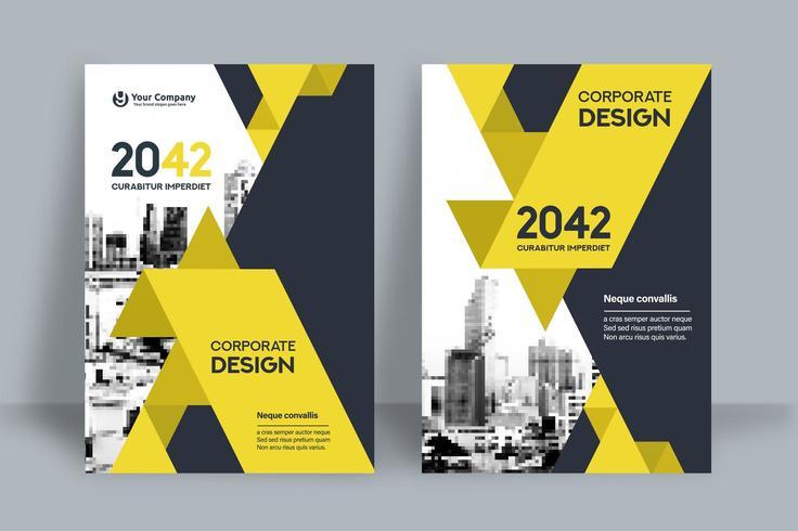 Modello giallo di progettazione della copertina del libro di affari del fondo della città vettore
