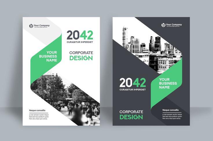 Grön delvis stadsbakgrund för mall för affärsbokomslag