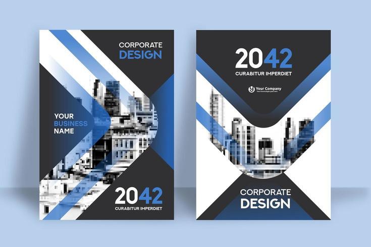 Modello blu moderno di progettazione della copertina del libro di affari del fondo della città vettore