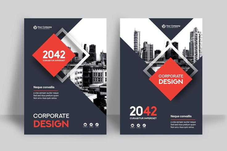Red Square City Background Business Book Cover Design Template  vector