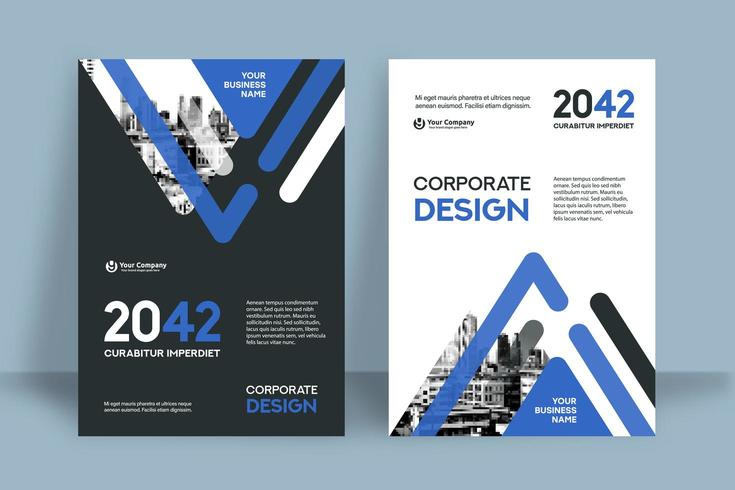 Stadt-Hintergrund-Geschäfts-Bucheinband-Design-Schablone