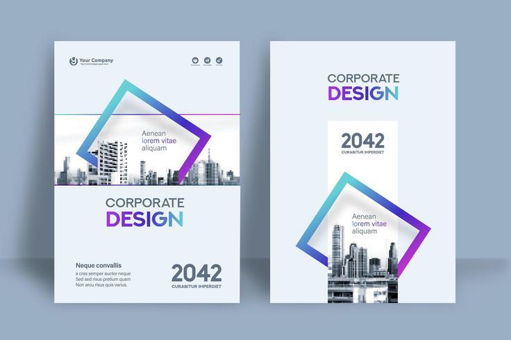 Plantilla de diseño de portada de libro de negocios de fondo cuadrado azul y púrpura de la ciudad