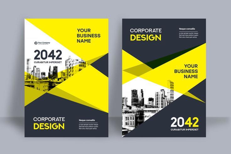 Molde amarelo do projeto da capa do livro do negócio do fundo da skyline