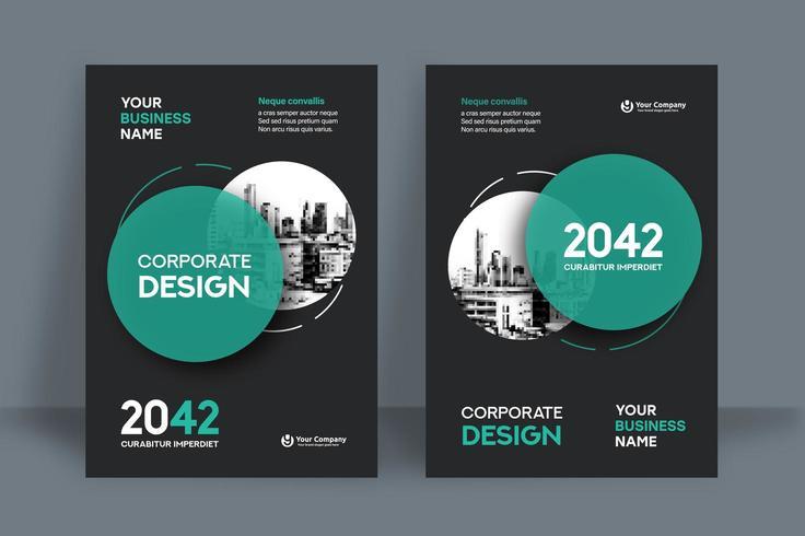 Fondo circular de la ciudad de Cyan Plantilla de diseño de portada de libro de negocios