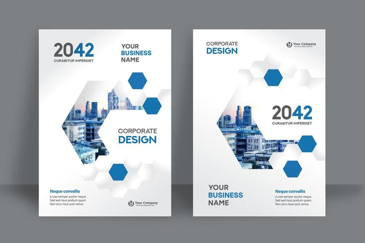 Plantilla de diseño de portada de libro de negocios de fondo de la ciudad vector