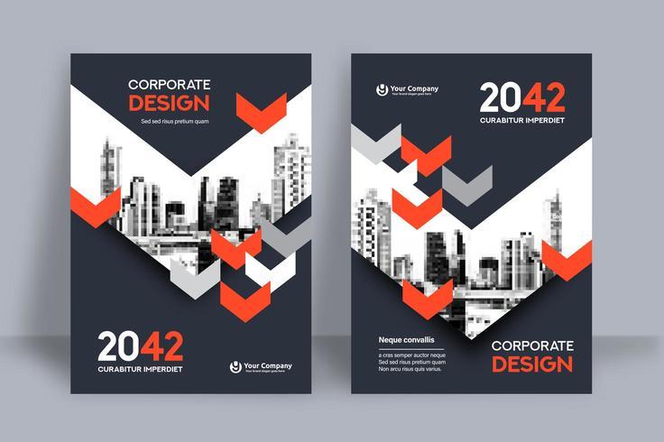 Modello rosso e grigio di Arrow City Background Business Book Cover Design