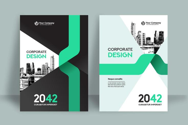 Green Curved City Background Business Book Cover Design Template  vector