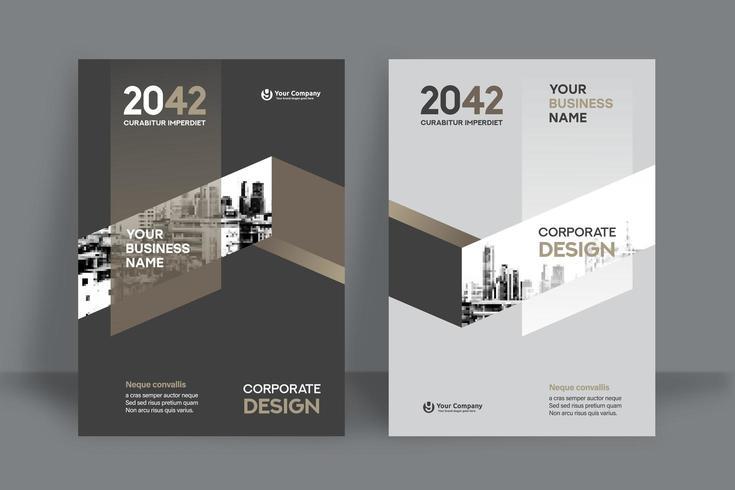 Modello neutrale moderno di progettazione della copertina del libro di affari del fondo della città