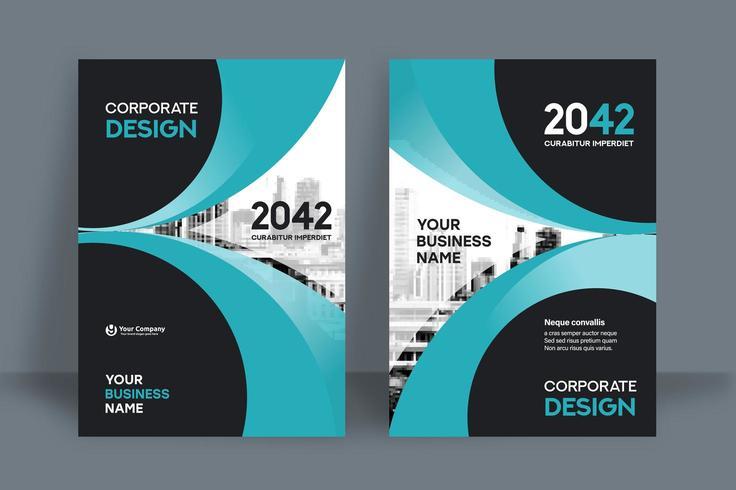 Plantilla de diseño de portada de libro de negocios de fondo Cerulean City
