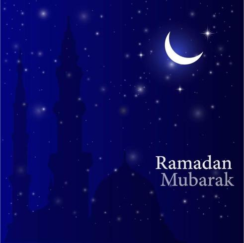 Ramadan Background with Crescent Moon, Stars and Mosque vector
