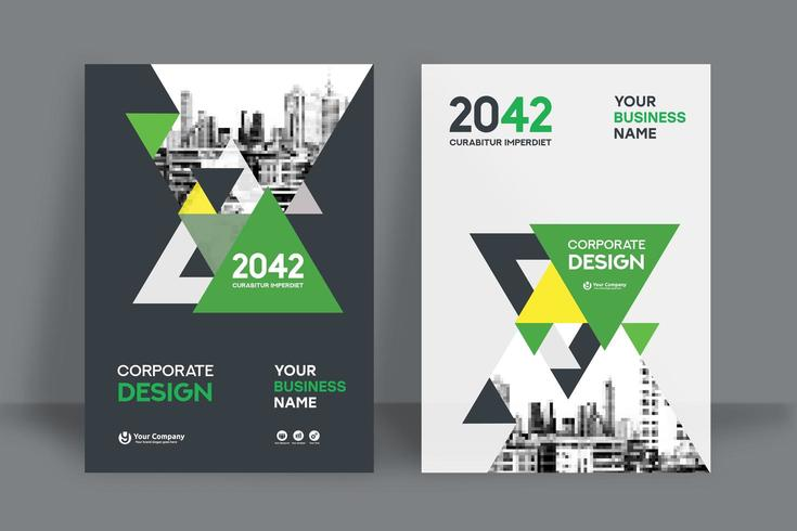 Modello triangolare verde di progettazione della copertina del libro di affari del fondo della città