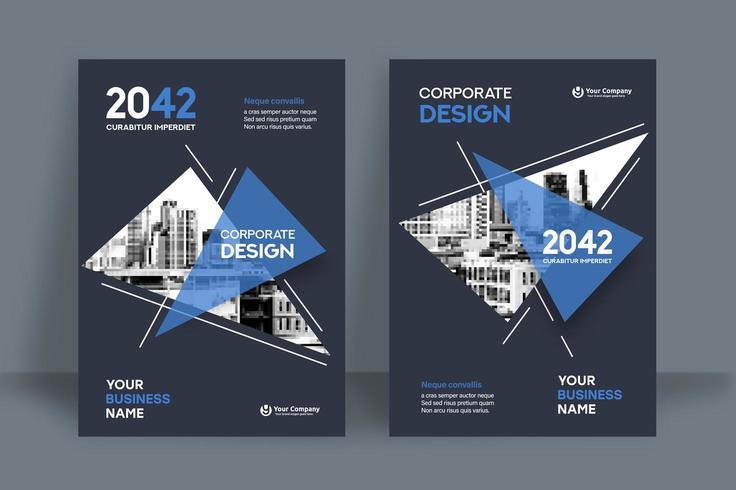 Modello triangolare blu e bianco di progettazione della copertina del libro di affari del fondo della città