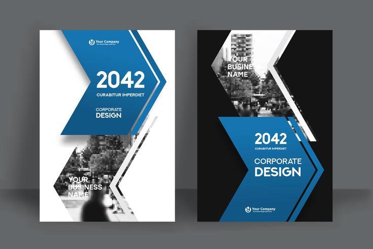 Modelo de Design de capa de livro de negócios de fundo seta azul e cinza cidade