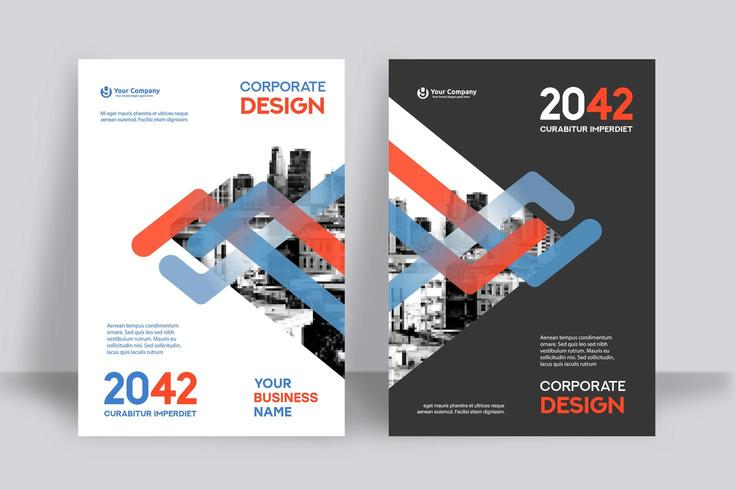 Blue and Red Lines City Background Business Book Cover Design Template  vector