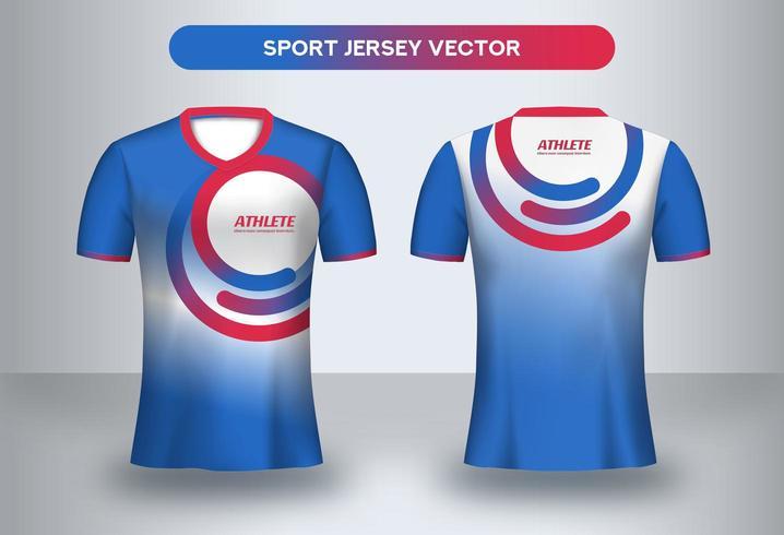 Modello di progettazione maglia da calcio blu e rosso.