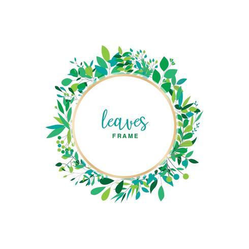Green Leaves Floral Frame Design vector