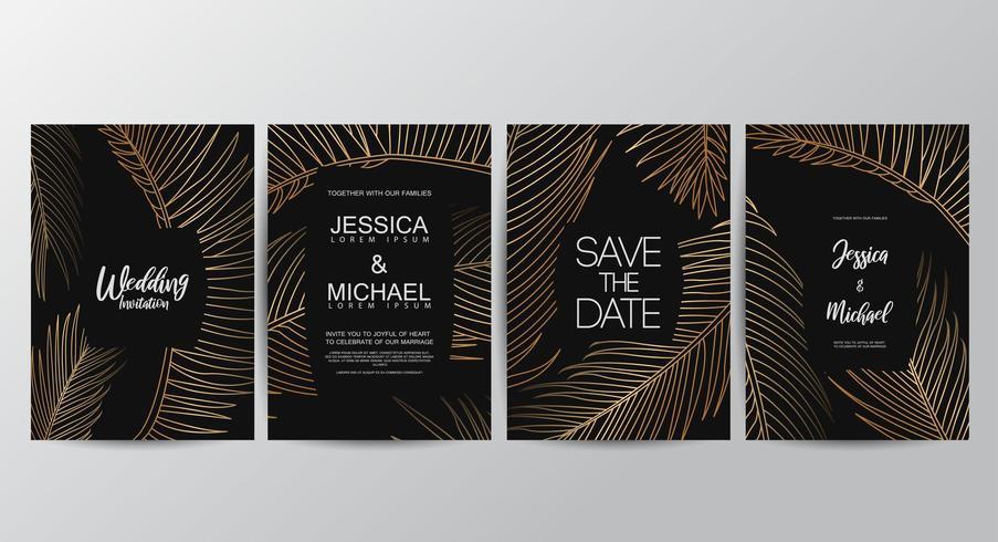 Premium Golden Luxus Hochzeitseinladungssatz