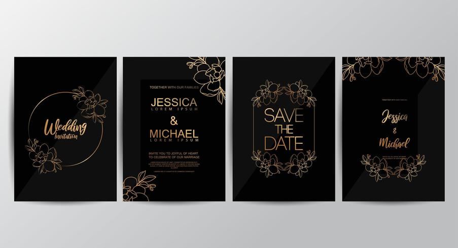 Premium black luxury wedding invitation set vector