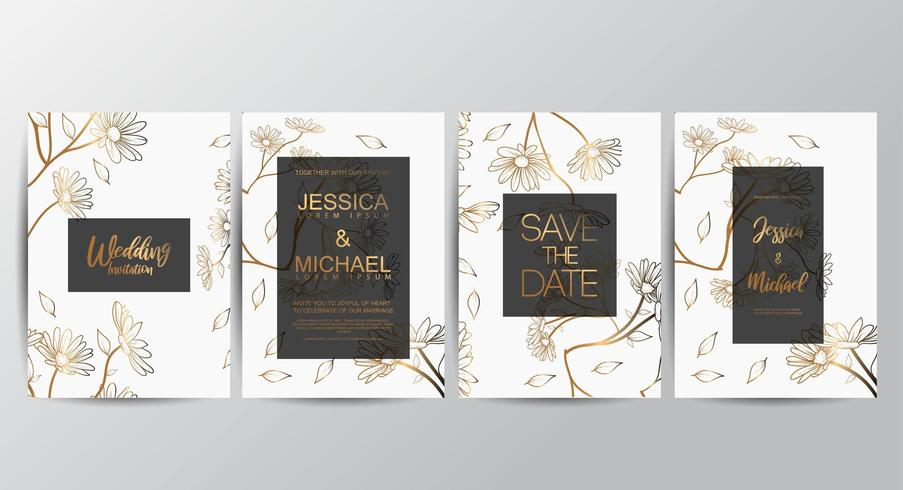Premium luxury Floral wedding invitation set vector