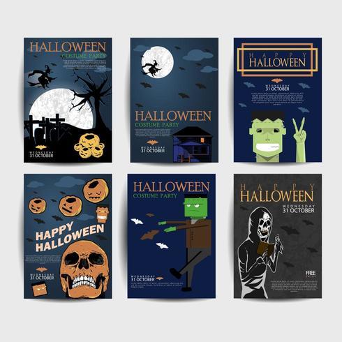 halloween night party flyer vector