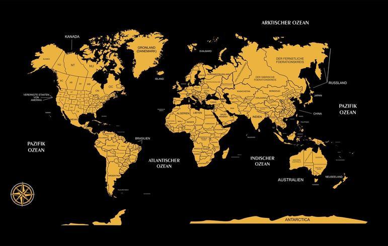 mapa mundial en alemán