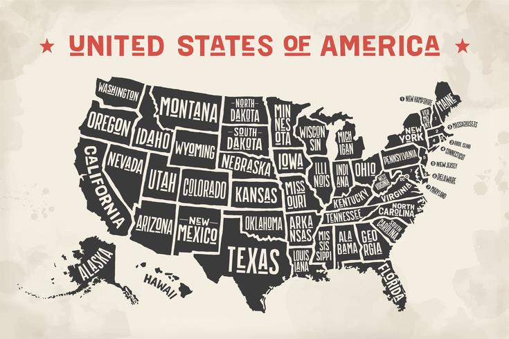 The Map Of The United States With Names.Poster Map United States Of America With State Names Download Free