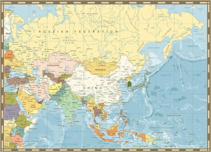 Alte Retro-Karte von Asien und Bathymetrie