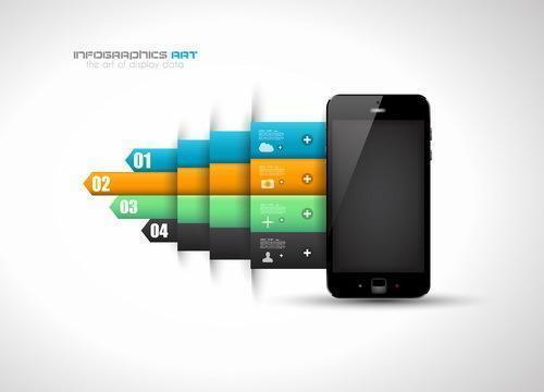Infographik Entwurfsvorlage mit Handy