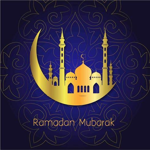 Fondo de luna dorada de Ramadán Mubarak