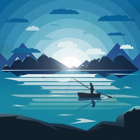 Landschapsillustratie met eenzame fiherman in het meer