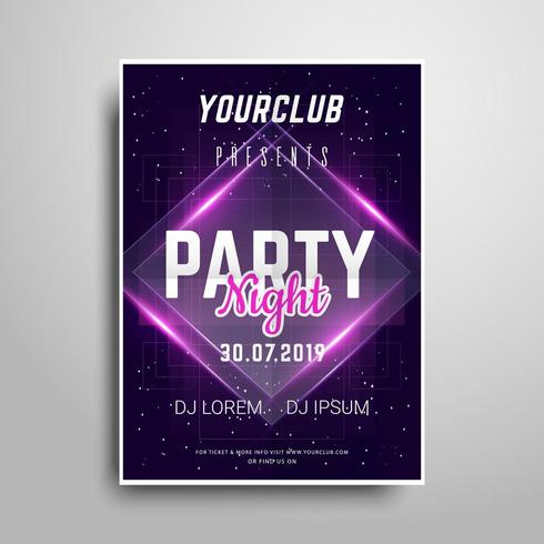 Purple Neon Party poster template. vector