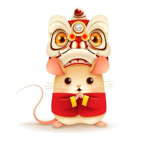 La pequeña rata con año nuevo chino Lion Dance Head.