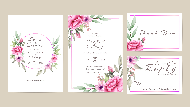 Wedding Invitation Template Set of Watercolor Flowers - Download Free  Vectors, Clipart Graphics & Vector Art