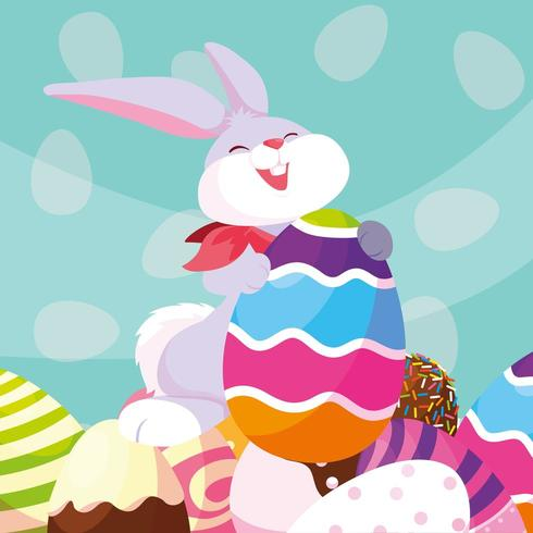 Rabbit with Easter Eggs vector