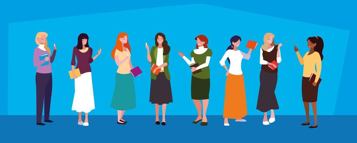 grupo de maestros avatares de chicas vector