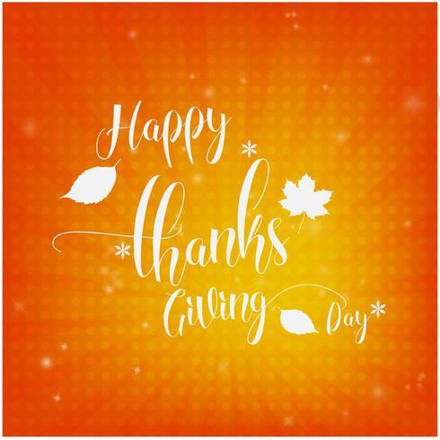 Orange Happy Thanksgiving card design vector