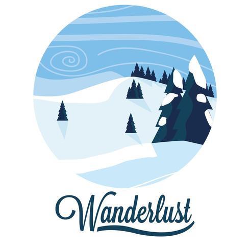 wanderlust snowscape scene vector
