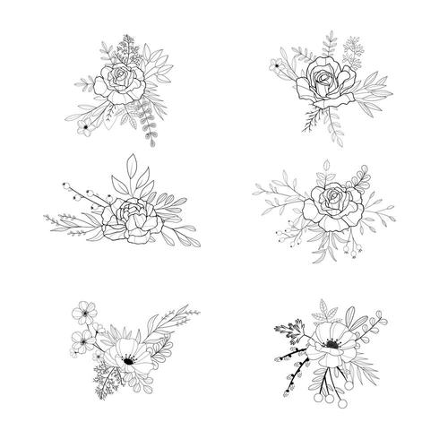 Set of beautiful detailed black and white floral bouquets vector